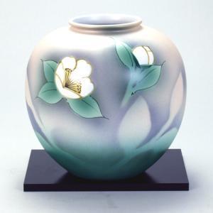 九谷焼 6号花瓶 いぶし山茶花 stylence