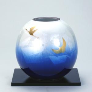 九谷焼 5.5号花瓶 銀彩双鶴|stylence