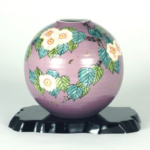 九谷焼 6号花瓶 花水木 (花台付)|stylence