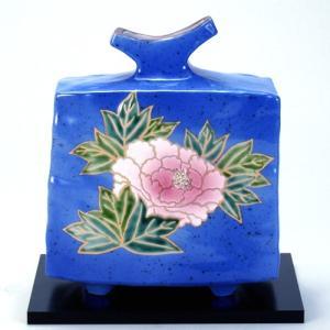 九谷焼 6号花瓶 青釉牡丹|stylence