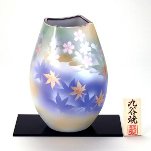 九谷焼 8号ナツメ花瓶 春秋|stylence