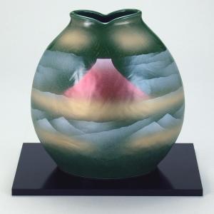 九谷焼 7号花瓶 オリベ赤富士|stylence