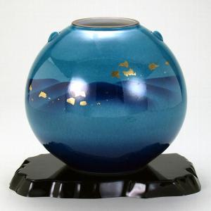 九谷焼 7号花瓶 釉彩金箔連山 stylence