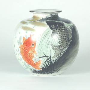 九谷焼 7号花瓶 鯉の滝上り|stylence