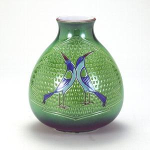 九谷焼 7号花瓶 彫刻双鳥|stylence