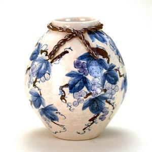 九谷焼 【送料無料】  8号花瓶 染付ぶどう|stylence