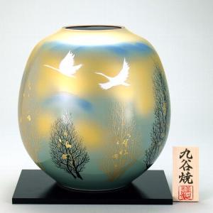 九谷焼 【送料無料】  8号花瓶 双鶴木立|stylence