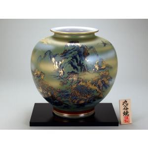 九谷焼 【送料無料】  10号花瓶 銀吹金山水|stylence