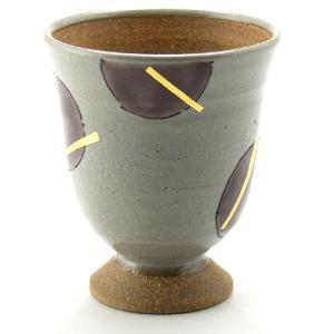 九谷和窯 泡がおいしい泡多長ビアカップ ゴブレット 金箔紫丸紋 250cc|stylence