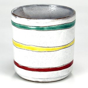 九谷焼 ロックグラス 白釉三色線文|stylence