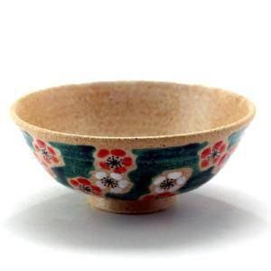 九谷焼 ご飯がくっつきにくい極小飯碗 反型 緑彩紅白梅|stylence