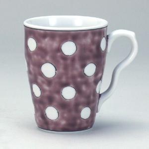 九谷焼 マグカップ 紫地水玉|stylence