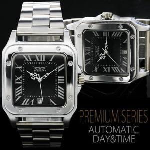 自動巻き 腕時計 メンズ 送料無料 1年保証 カレンダー 機能付き スクエアフェイス 自動巻き 腕時計 BOX 保証書付き WT-PR|styleon