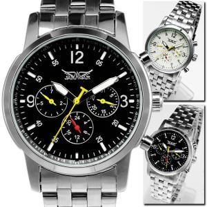 自動巻き 腕時計 メンズ 送料無料 1年保証 BOX付き 全針稼動の本格仕様 ミディアムフェイス 自動巻き クロノグラフ腕時計 BOX 保証書付 WT-PR|styleon