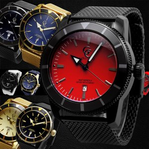 腕時計 メンズ 防水 1年保証 全7色 SEIKO ムーブメント搭載 30m防水 46mm ビッグフェイス 腕時計 交換用ラバーベルト BOX付属 styleon