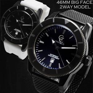 腕時計 メンズ 防水 1年保証 GENTY&CO. 46mm ビッグフェイス 腕時計 ブラック&ブラック 交換用ラバーベルト(ホワイト)付属 BOX付き styleon