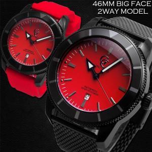 腕時計 メンズ 防水 1年保証 GENTY&CO.  46mm ビッグフェイス 腕時計 ブラック&レッド 交換用ラバーベルト(レッド)付属 BOX付き styleon