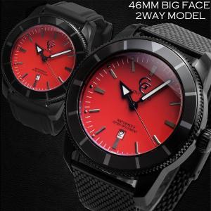 腕時計 メンズ 防水 1年保証 GENTY&CO.  46mm ビッグフェイス 腕時計 ブラック&レッド 交換用ラバーベルト(ブラック)付属 BOX付き styleon