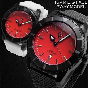 腕時計 メンズ 防水 1年保証 GENTY&CO.  46mm ビッグフェイス 腕時計 ブラック&レッド 交換用ラバーベルト(ホワイト)付属 BOX付き styleon