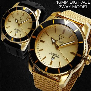 腕時計 メンズ 防水 1年保証 GENTY&CO.  46mm ビッグフェイス 腕時計 ゴールド&ゴールド 交換用ラバーベルト(ブラック)付属 BOX付き styleon