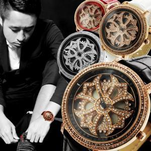 腕時計 メンズ レディース 送料無料 全4色 スワロフスキー スピナー ジュエリー 腕時計 BOX 保証書付 くるくる  回転 くるくる時計  0125 1025 styleon