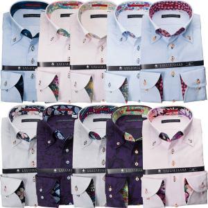 ワイシャツ  長袖 綿100%ワイシャツ 別注 ジャガード織柄 ボタンダウン カラー