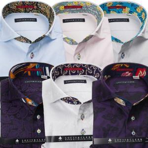 ワイシャツ| 長袖 綿100%ワイシャツ 別注 ジャガード織柄 カッタウェイワイド カラー
