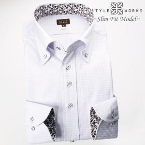 ワイシャツ  長袖ドレスシャツ 綿100% スリムフィット ボタンダウン グレージャガードダイアチェ...