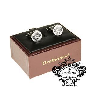 オロビアンコ Orobianco カフリンクス カフスボタン ラウンド ブランドロゴ シルバー OR...