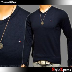 トミーヒルフィガー TOMMY HILFIGER シルク混 Vネックセーター ニット メンズ|stylexpress