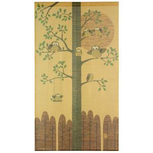 和風のれん「金運ふくろうゴールド 横85cm×高さ150cm」(日本製)(条件付き送料無料)の写真