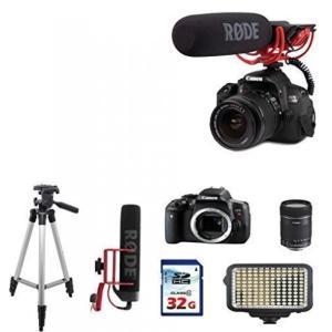 カメラ、キャノンCanon Eos Rebel T6i DSLR EOS Video Creator kit + Rode VIDEOMIC GO+ Canon EF-S 18-135mm f/3.5-5.6 IS Lens +32g Commander High Speed