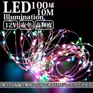 LEDイルミネーション ジュエリーライト 12V 10m 100球 ICチップ付き レインボー ワイヤー クリスマスライト succul