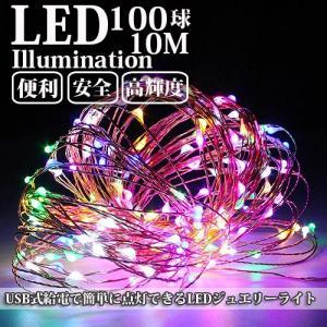 LEDイルミネーション ジュエリーライト USB式 便利 10m 100球 ICチップ付き レインボー ワイヤー クリスマスライト succul