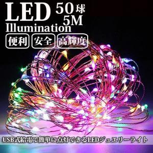 LEDイルミネーション ジュエリーライト USB式 便利 5m 50球 ICチップ付き レインボー ワイヤー クリスマスライト succul