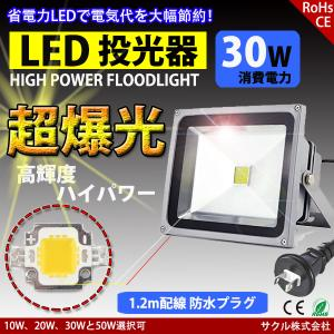 LED投光器 30W 昼光色 ACプラグ付 3M配線 防水 長寿命 看板灯 集魚灯 作業灯に/家庭用コンセントでOK|succul