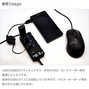 USBハブ 4ポート USB3.0対応 省エネ 電源個別スイッチ付き バスパワー ノートPCにぴったり コンパクト PC パソコン USB HUB ハブ SUCCUL succul 06