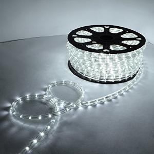 電源付き LEDチューブライト ロープライト ホワイト 白 2芯タイプ 10m 直径13mm 300球 クリスマスイルミネーション SUCCUL succul