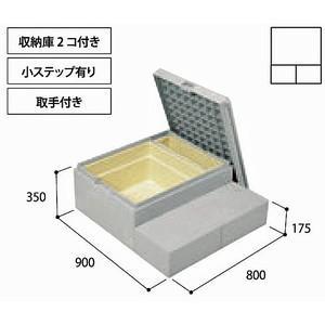 代引き不可 勝手口ステップ ハウスステップ CUB-8060W-3ST 収納庫付 小ステップ付 取っ手付 城東テクノ|sudasyop