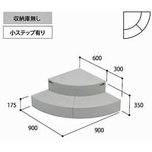 joto代引き不可 勝手口ステップ ハウスステップ CUB-R60 収納庫なし Rタイプ 城東テクノ|sudasyop