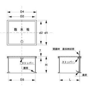 散水栓ボックス SN-1 ステンレス製(床用浅型) sudasyop 03
