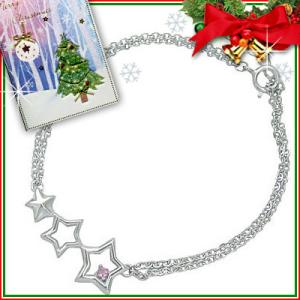 クリスマス限定Xmasカード付10月誕生石シルバー ピンクトルマリンブレスレット 星スター【今だけ代引手数料無料】|suehiro