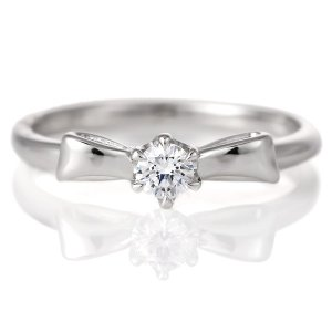 婚約指輪 ダイヤモンド プラチナ リング 0.3ct 天然石 エンゲージリング 鑑別書 リボン セール|suehiro