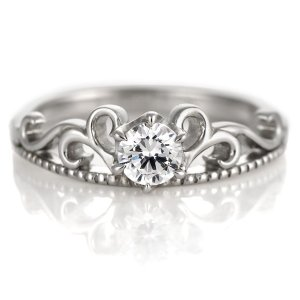 ダイヤモンド リング プラチナ 婚約指輪 0.3カラット 鑑別書 アンティーク セール|suehiro