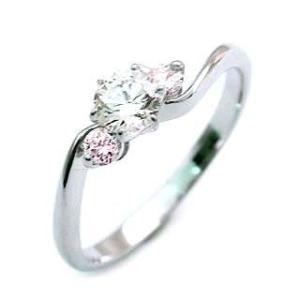 婚約指輪 エンゲージリング プラチナ ピンク ダイヤモンド ダイヤ リング スリーストーン 夏|suehiro