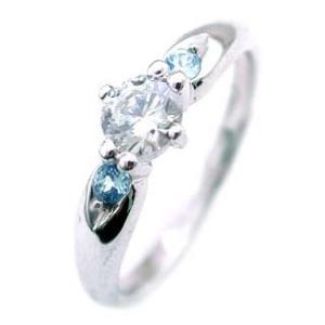 エンゲージリング 婚約指輪 ダイヤモンド ダイヤ プラチナ リング ブルートパーズ 夏|suehiro