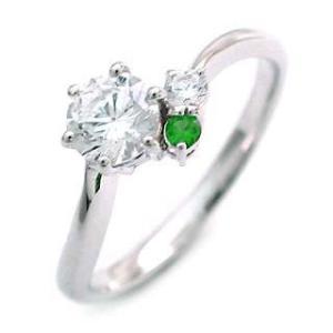エンゲージリング 婚約指輪 ダイヤモンド ダイヤ プラチナ リング エメラルド|suehiro