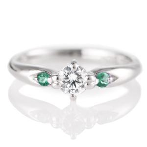 婚約指輪 エンゲージリング ダイヤモンド ダイヤ リング 指輪 人気 ダイヤ プラチナ リング エメラルド|suehiro