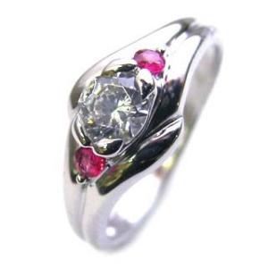 エンゲージリング 婚約指輪 ダイヤモンド ダイヤ プラチナ リング ルビー 夏|suehiro