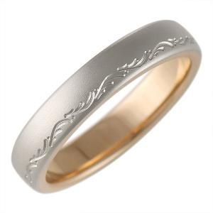 つや消し 結婚指輪 マリッジリング ペアリング プラチナ ピンクゴールド 文字入れ アンティーク調 Romantic Blue|suehiro